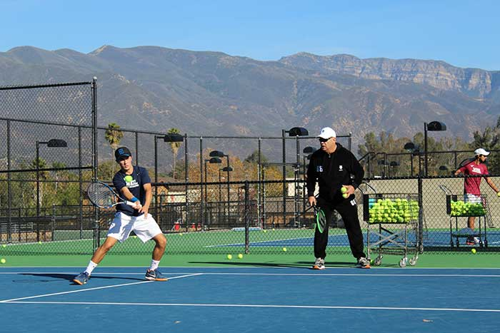 "Wayne Bryan, coach of the Bryan Brothers, the greatest professional doubles tennis team of all time, runs a clinic during Boarding Tennis Camp at Weil Academy which he calls ""the best tennis academy in America"""
