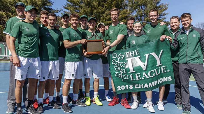 2018 Ivy League Mens Tennis Champions Dartmouth Big Green celebrate with championship banner, Weil Alumnus plays key role on the championship team.