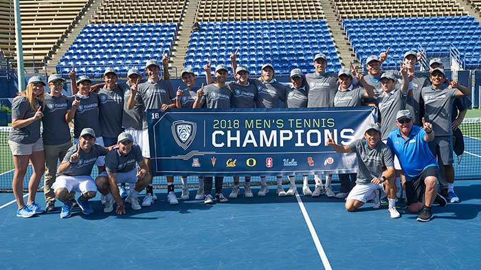 Weil Graduate helps hoist championship banner and plays key role on UCLA Pac 12 Mens Tennis Championship team under head coach Billy Martin whose son attended Weil Tennis Academy near Los Angeles and San Diego.
