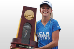 After earning a NCAA D1 tennis scholarship while at Weil Academy graduate became UCLA's top player and NCAA Champion, here she holds the NCAA Championship trophy in celebration.